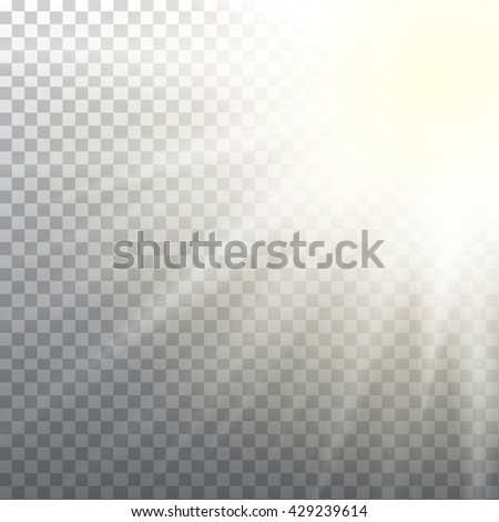 Abstract sun flare effect on light grey background. Vector eps10 illustration - stock vector