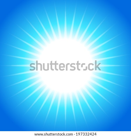 abstract sun light ray pattern on blue background (vector) - stock vector