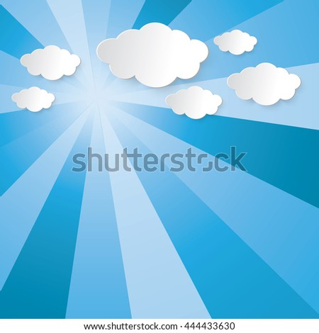 Abstract sun shining light beam, blue sky and cloud vector graphic design for background
