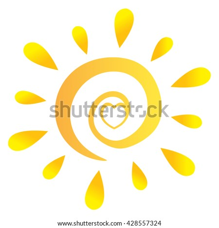 Abstract Sun With Heart In Gradient. Vector Illustration Isolated On White Background - stock vector