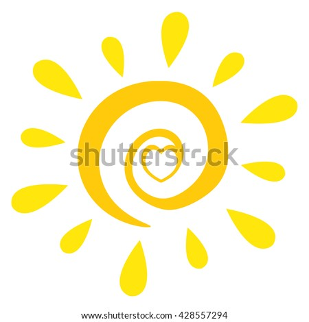 Abstract Sun With Heart Simple Design. Vector Illustration Isolated On White Background - stock vector