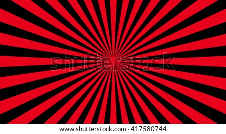 Abstract sunbeams background - vector illustration. Illustration shiny sunbeams. Bright sunbeams on red background. Abstract bright background - vector. - stock vector