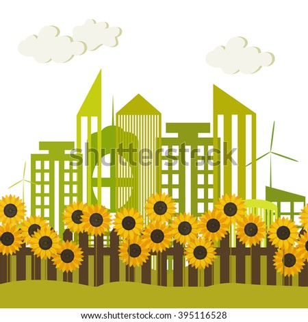 Abstract sunflower garden with trees background and fence, vector. Eco, green theme. Energy efficiency.