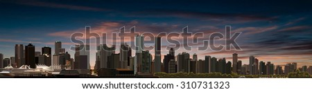 abstract sunrise background with panorama of vancouver