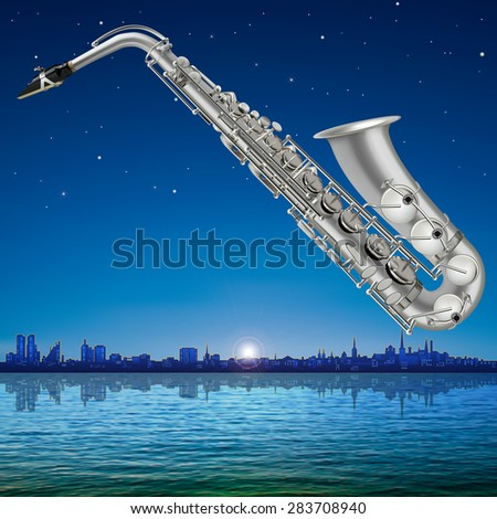 abstract sunrise background with silhouette of Tallinn and saxophone - stock vector
