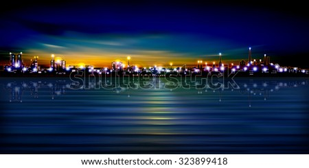 abstract sunset background with silhouette of Tallinn vector illustration - stock vector