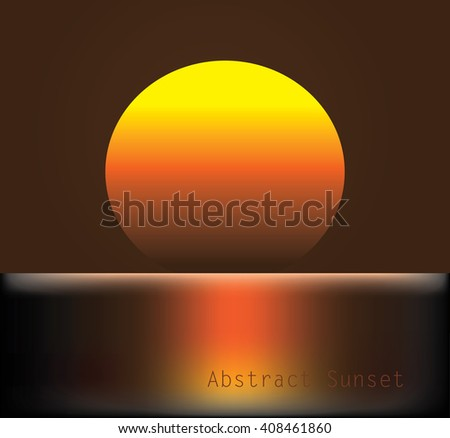 Abstract sunset whit a big sun - stock vector