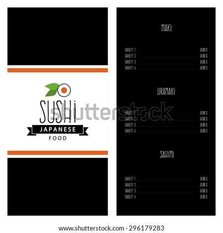 Abstract sushi menu background with some special objects
