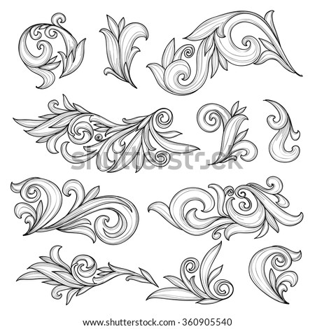 Abstract swirls page ornaments, calligraphic vintage design elements - stock vector