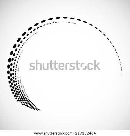Abstract swirly illustration with halftone dots. Logo design. Modern icon. Vector design. - stock vector