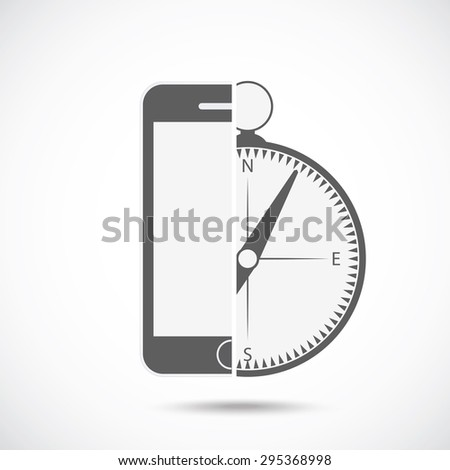 Abstract symbol concept. Mobile phone silhouette and compass. - stock vector