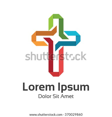 Abstract symbol cross logo template for churches and Christian organizations. - stock vector
