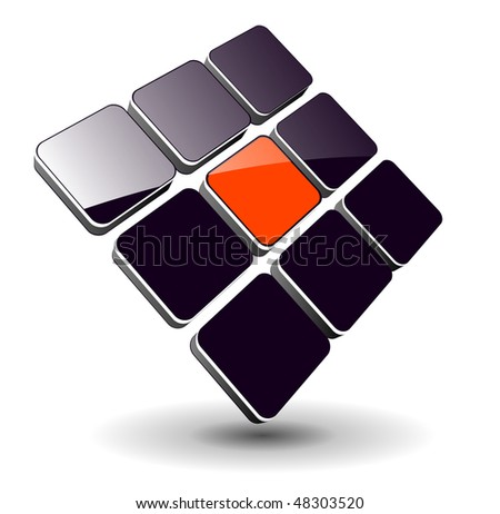 Abstract symbol, 3d glossy cubes, vector. - stock vector