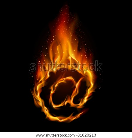 Abstract symbol of AT. Flame-simulated on black background. - stock vector