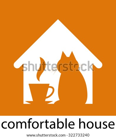 Abstract symbol of comfortable house. The stylized image of a house with a cat and a cup of hot drink. Vector illustration - stock vector