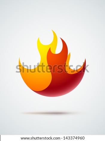 Abstract symbol of fire flames. EPS10 vector. - stock vector