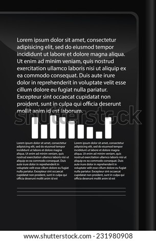 abstract tablet or background for records of black color, part of the tablet - stock vector
