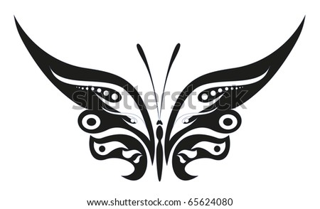 abstract tattoo - a magic butterfly - stock vector