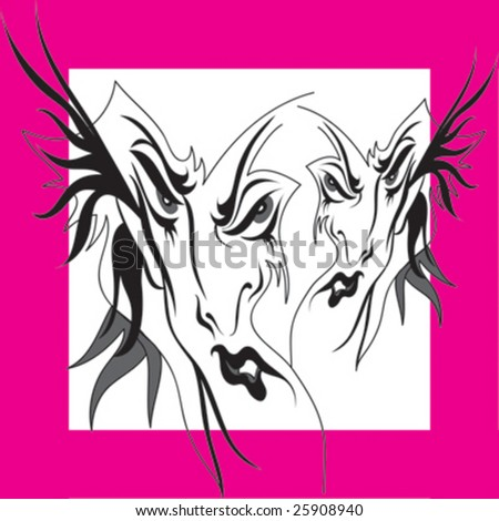 Abstract Tattoo Pattern on Pink Background - stock vector