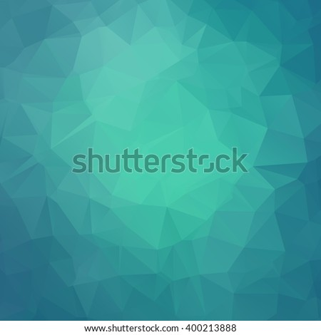 Abstract teal geometric triangle background. Vector illustration for modern design. Green blue colors. Aqua water ice crystal. Bright poster. Decorative graphic mosaic texture. Retro wallpaper. - stock vector