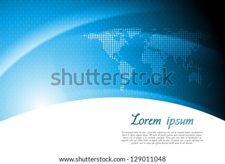 Abstract tech background with world map. Vector design eps 10