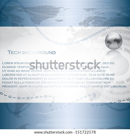 Abstract tech binary blue background - stock vector