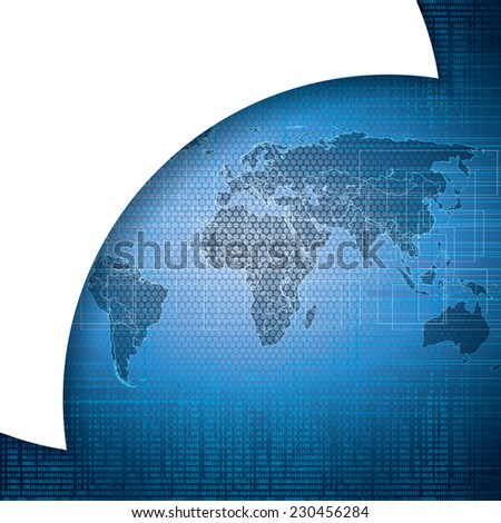 Abstract tech binary blue global background