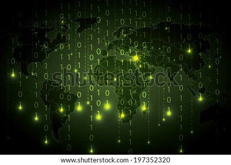 Abstract tech binary green global background   - stock vector