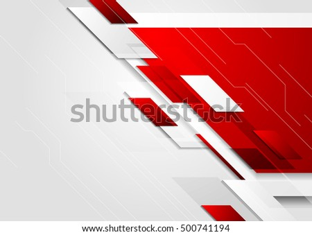 Abstract tech corporate red and grey contrast background. Vector illustration for flyers, brochures, web graphic design