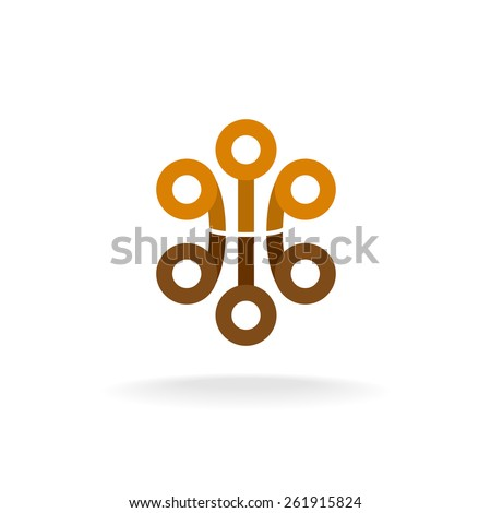 Abstract tech logo with circle elements. Sphere heads on a tips. - stock vector