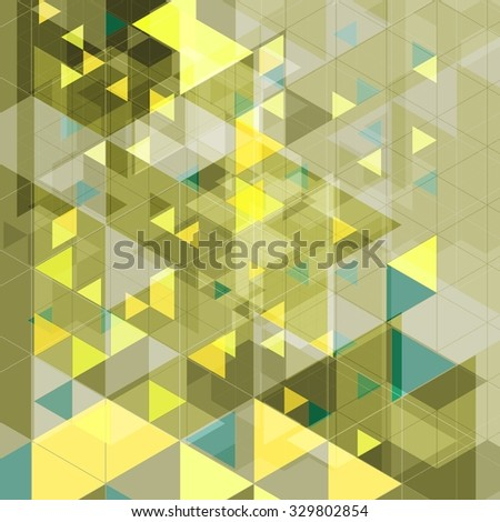 Abstract tech retro geometric background. Yellow and green triangles. Vector illustration - stock vector