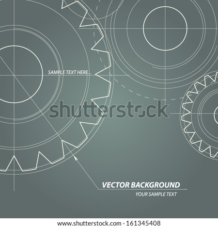 Abstract technical drawing. Vectors gears - stock vector