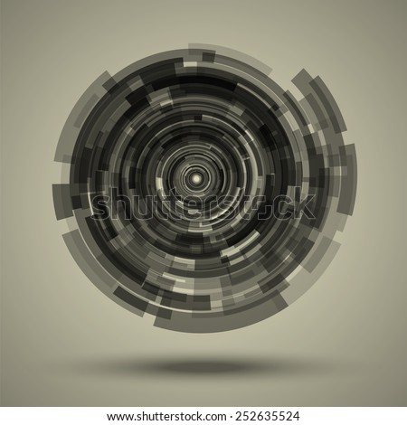 Abstract techno background as the camera lens. Circular concentric elements of different transparency. Scalable vector objects. - stock vector