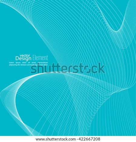Abstract techno background with lines in waves. Technology, technical vector. Futuristic high tech design for scientific cover book, brochure, flyer, poster, magazine, website. Blue - stock vector