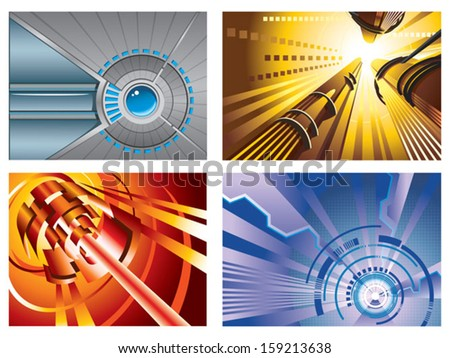 Abstract techno backgrounds, elements for design, hi-tech wallpaper, vector illustration - stock vector