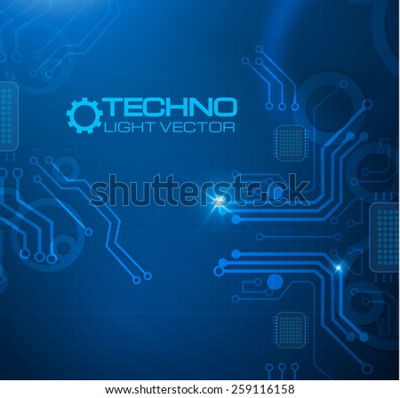 Abstract techno circuit background. Vector illustration - stock vector