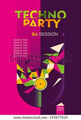Abstract techno party poster design in color. Vector illustration. - stock vector