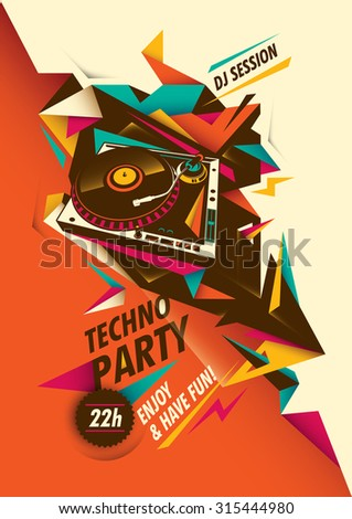 Abstract techno party poster with turntable. Vector illustration. - stock vector