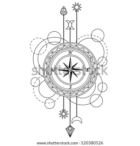 Abstract Techno Pattern With Compass And Geometric Elements On White Background Modern Tattoo Symbol