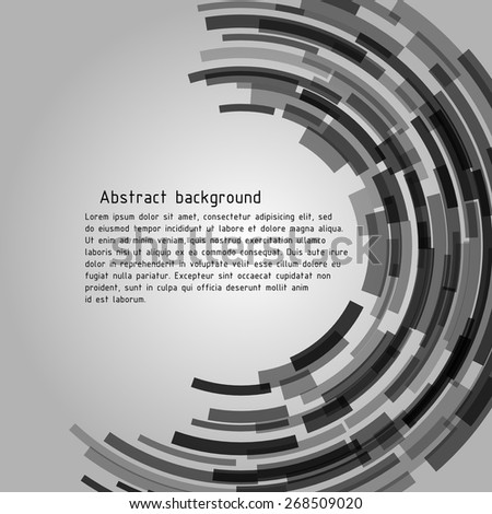 Abstract technogenic background with sample text. Radius figure is similar to the intergalactic portal or other space objects. Vector image. - stock vector