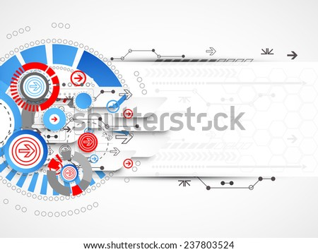 Abstract technological background with circles and arrows - stock vector