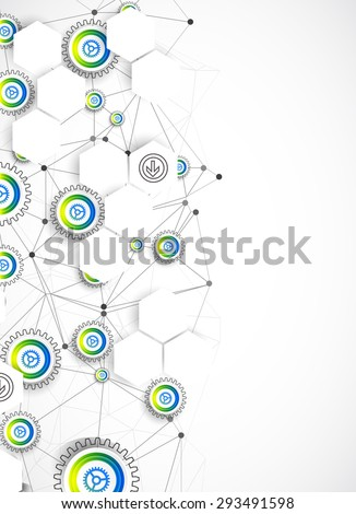 Abstract technological background with various elements. Vector - stock vector