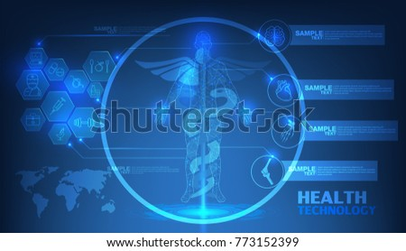 Abstract technological health care science blue stock vector abstract technological health care science blue print scientific interface futuristic backdrop digital malvernweather Images