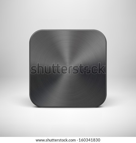 Abstract technology app icon, blank button template with black metal texture (steel, chrome, silver), realistic shadow and light background for user interfaces (UI) and applications (apps). Vector. - stock vector