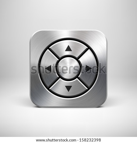 Abstract technology app icon with arrows, metal texture (stainless steel, chrome, silver), realistic shadow and light background for internet sites, web user interfaces (UI) and applications (apps). - stock vector