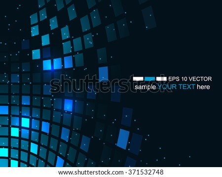 Abstract technology background, business and development direction. Vector illustration with shiny square pattern and glitter for your business presentation. - stock vector
