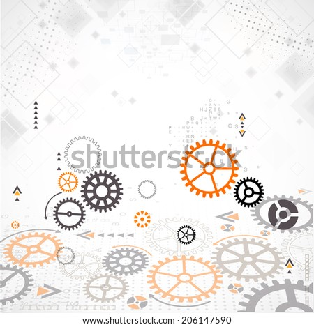 Abstract technology background. Cog wheel theme - stock vector