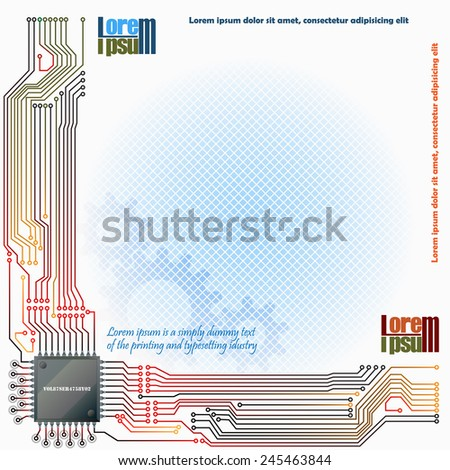 Abstract technology background; Electronic Chip connected at electronic circuits with cogwheels and squares in background.  - stock vector