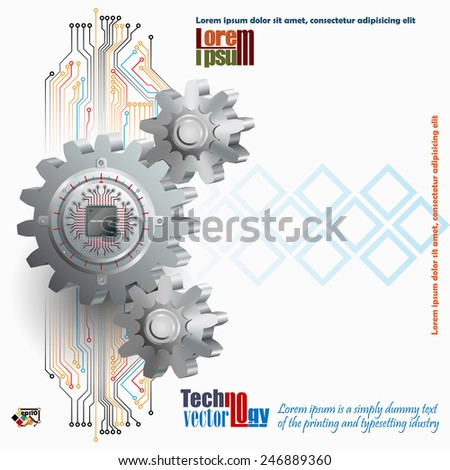 Abstract technology background;Processor Chip attached to circular metallic device with gradations  pinned to cogwheels as symbol of technology  - stock vector