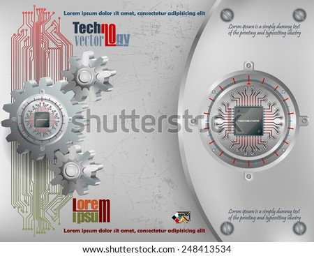 Abstract technology background; Processor Chip attached to circular metallic device with gradations nailed to cogwheels and steel board  with screws.  - stock vector